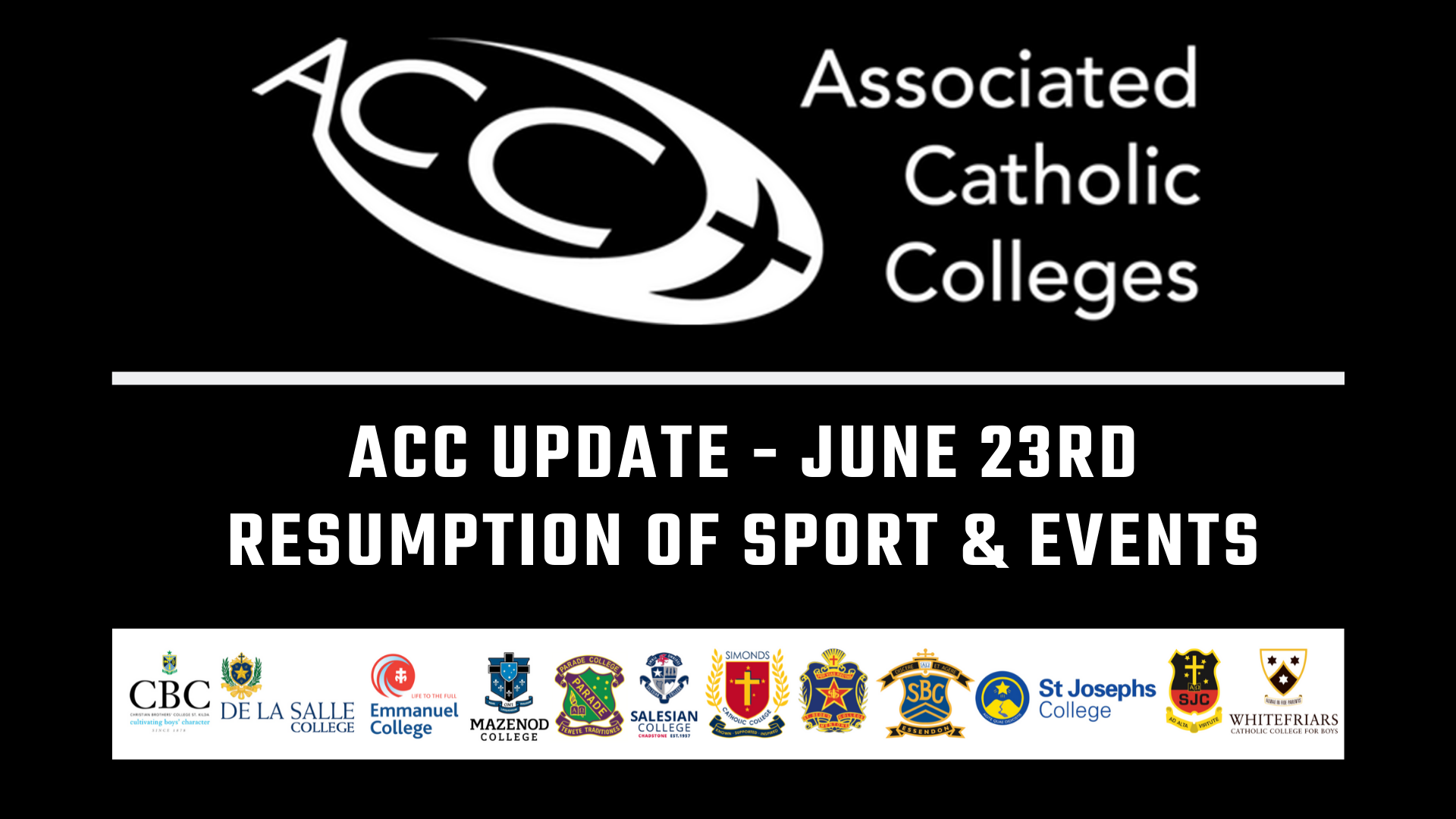 ACC UPDATE JUNE 23RD - RESUMPTION OF SPORT & EVENTS